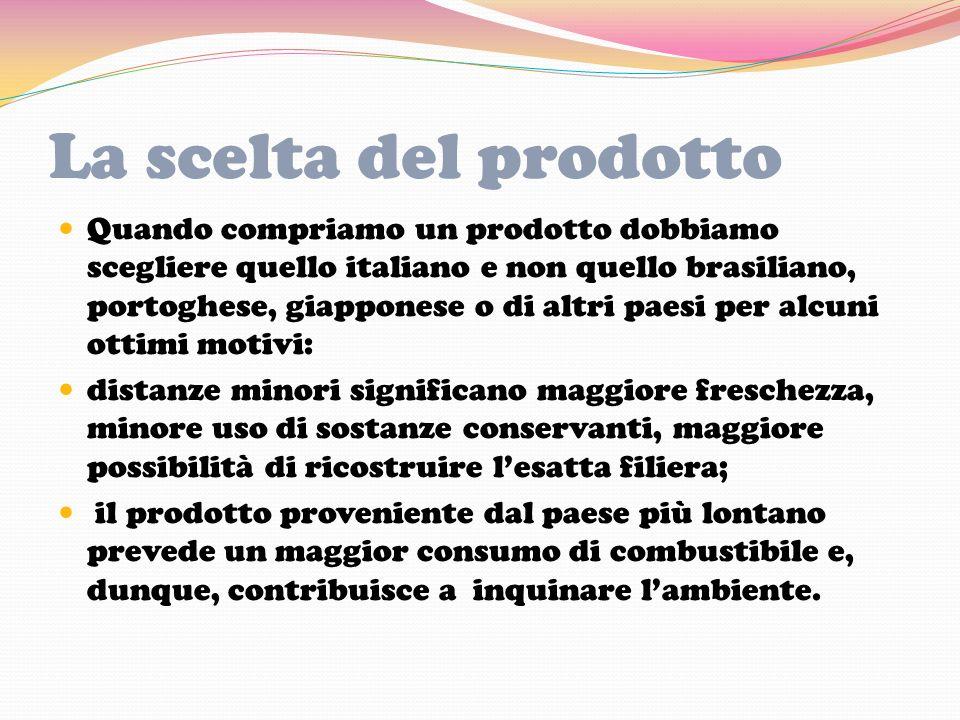 La scelta del prodotto Quando compriamo un prodotto dobbiamo scegliere quello italiano e non quello brasiliano, portoghese, giapponese o di altri paes