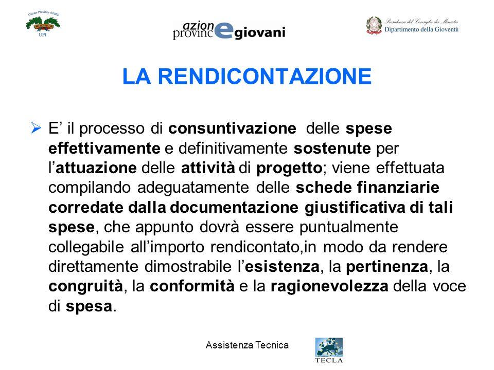 Assistenza Tecnica LA RENDICONTAZIONE E il processo di consuntivazione delle spese effettivamente e definitivamente sostenute per lattuazione delle at