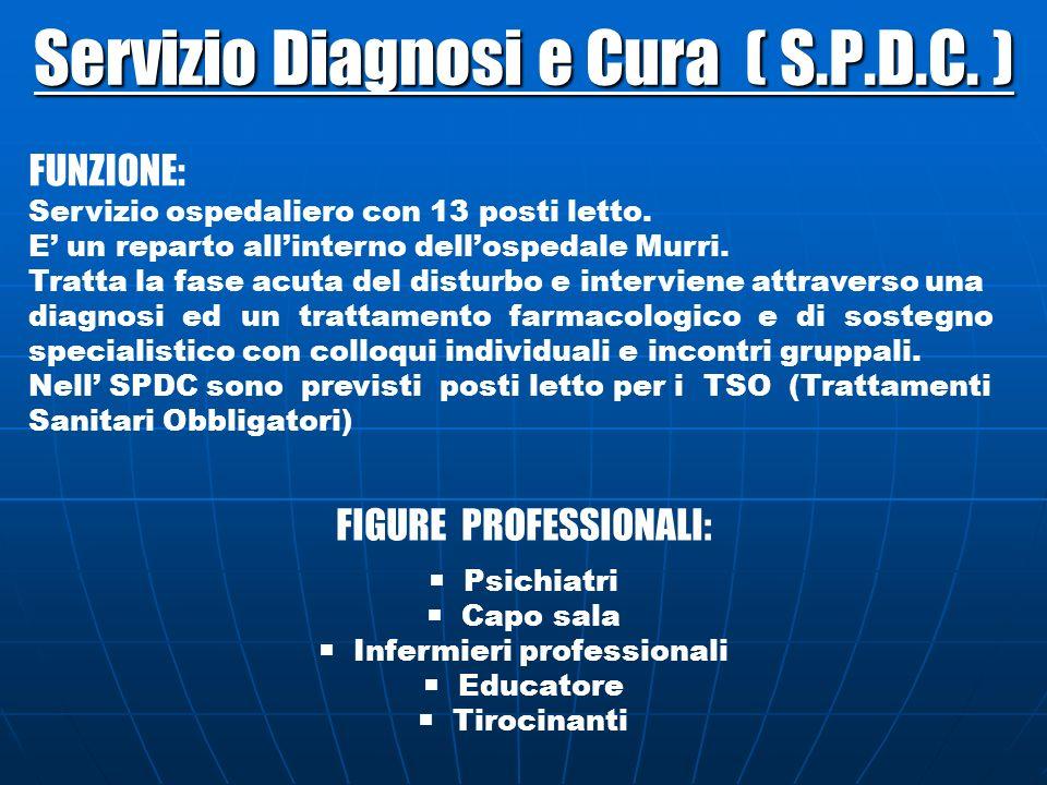 Servizio Diagnosi e Cura ( S.P.D.C. ) FUNZIONE: Servizio ospedaliero con 13 posti letto. E un reparto allinterno dellospedale Murri. Tratta la fase ac