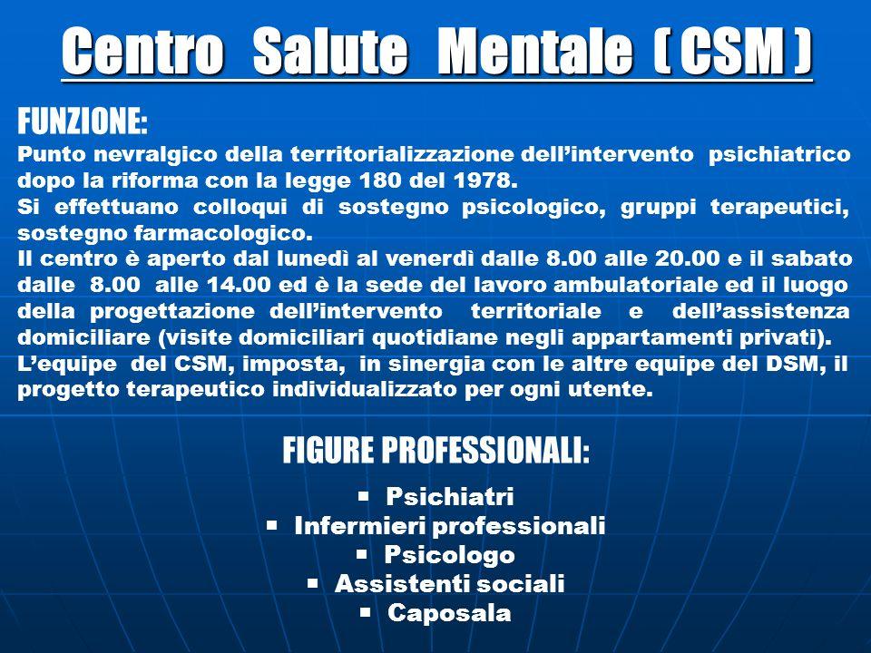 Centro Salute Mentale ( CSM ) FUNZIONE: Punto nevralgico della territorializzazione dellintervento psichiatrico dopo la riforma con la legge 180 del 1