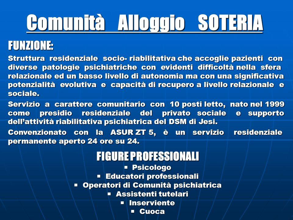 Comunità Alloggio SOTERIA FUNZIONE: Struttura residenziale socio- riabilitativa che accoglie pazienti con diverse patologie psichiatriche con evidenti