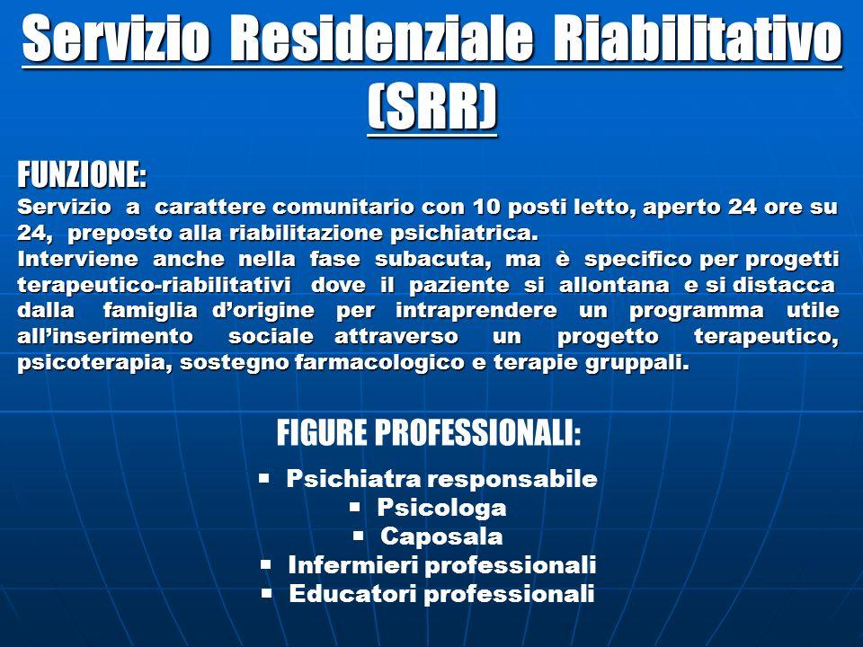 Servizio Residenziale Riabilitativo (SRR) FUNZIONE: Servizio a carattere comunitario con 10 posti letto, aperto 24 ore su 24, preposto alla riabilitaz