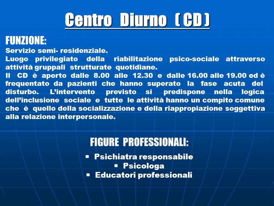 Centro Diurno ( CD ) FUNZIONE: Servizio semi- residenziale. Luogo privilegiato della riabilitazione psico-sociale attraverso attività gruppali struttu