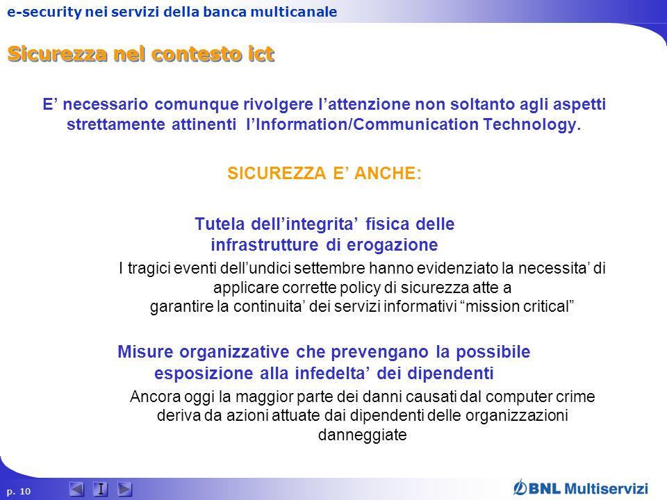 p. 10 I e-security nei servizi della banca multicanale Sicurezza nel contesto ict E necessario comunque rivolgere lattenzione non soltanto agli aspett