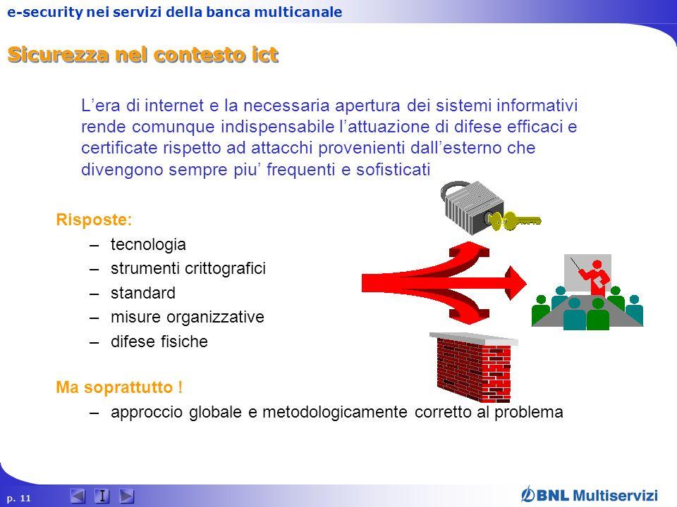 p. 11 I e-security nei servizi della banca multicanale Sicurezza nel contesto ict Lera di internet e la necessaria apertura dei sistemi informativi re