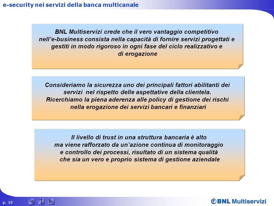 p. 19 I e-security nei servizi della banca multicanale BNL Multiservizi crede che il vero vantaggio competitivo nelle-business consista nella capacità