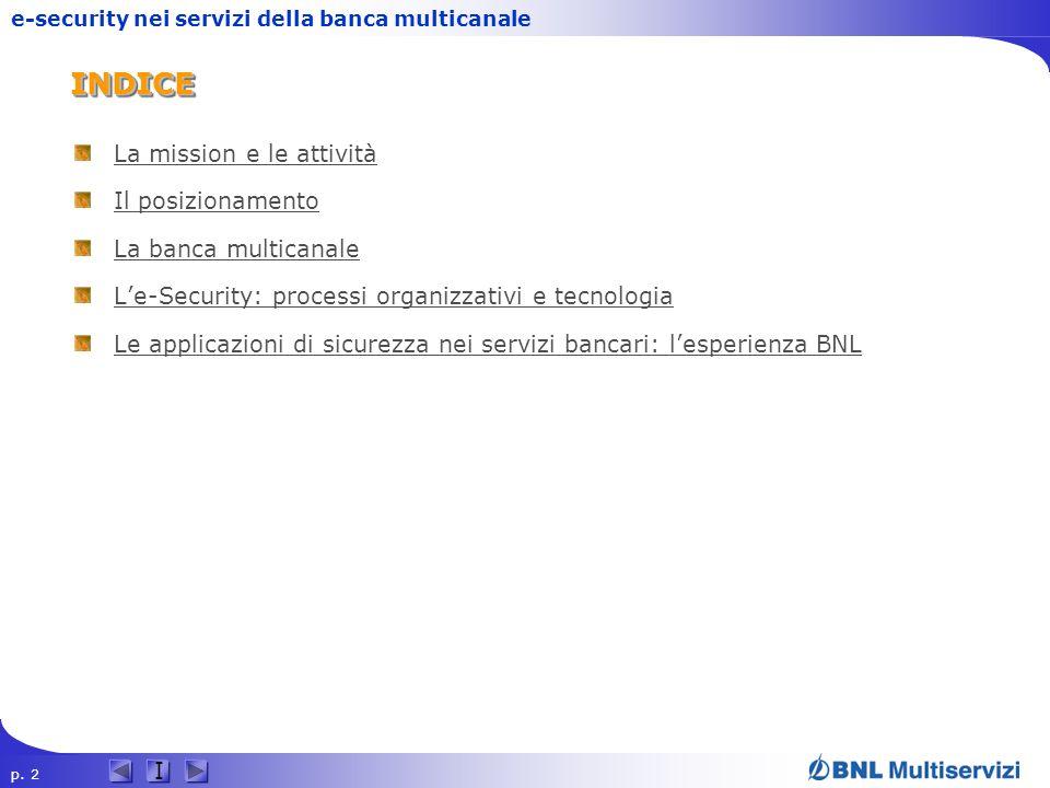 p. 2 I e-security nei servizi della banca multicanaleINDICEINDICE La mission e le attività Il posizionamento La banca multicanale Le-Security: process