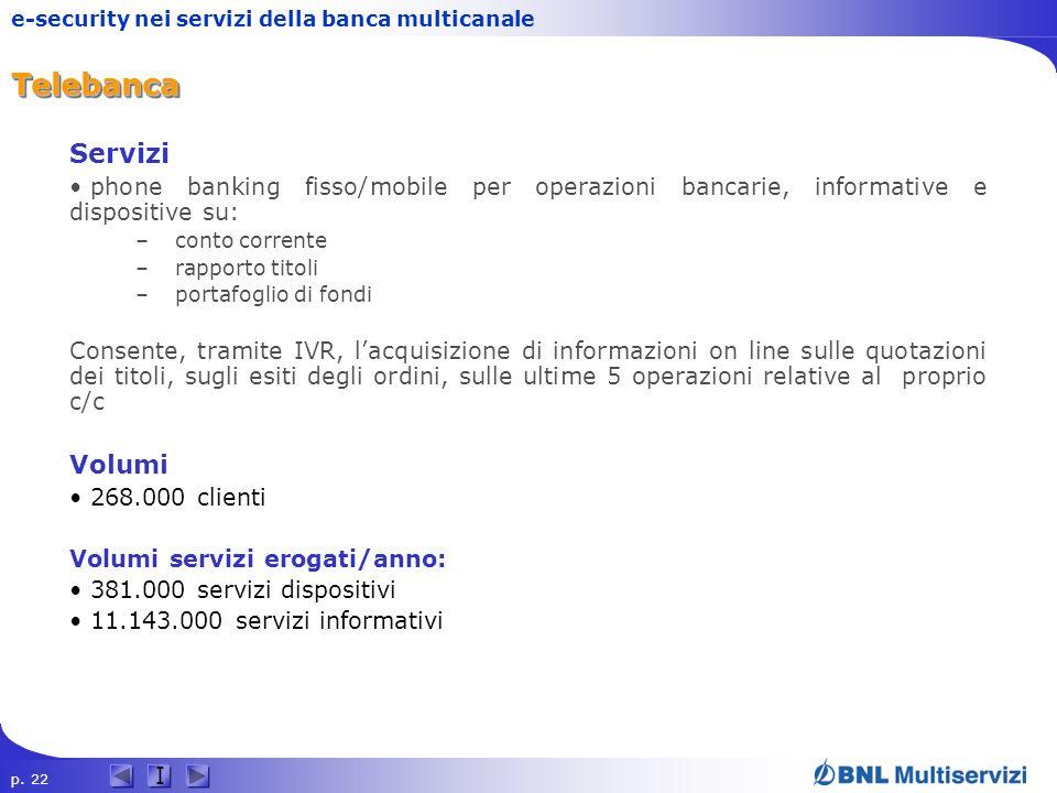 p. 22 I e-security nei servizi della banca multicanaleTelebancaTelebanca Servizi phone banking fisso/mobile per operazioni bancarie, informative e dis