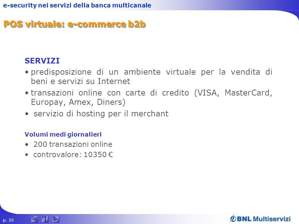 p. 25 I e-security nei servizi della banca multicanale POS virtuale: e-commerce b2b SERVIZI predisposizione di un ambiente virtuale per la vendita di