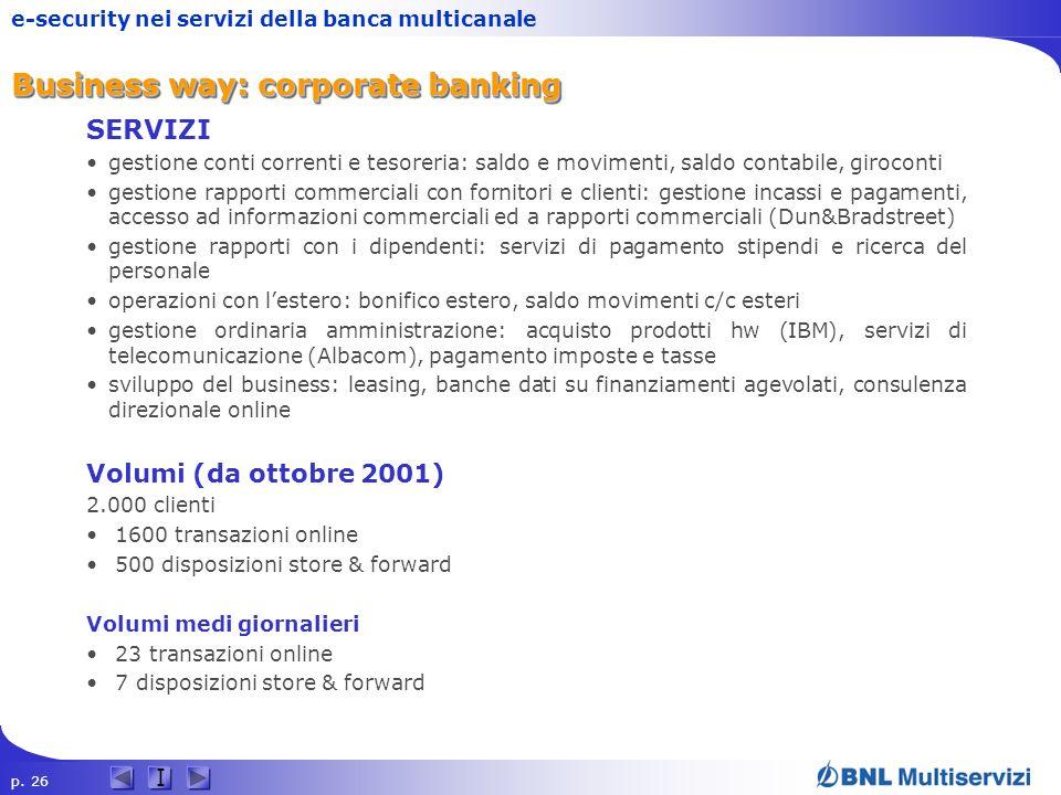 p. 26 I e-security nei servizi della banca multicanale Business way: corporate banking SERVIZI gestione conti correnti e tesoreria: saldo e movimenti,