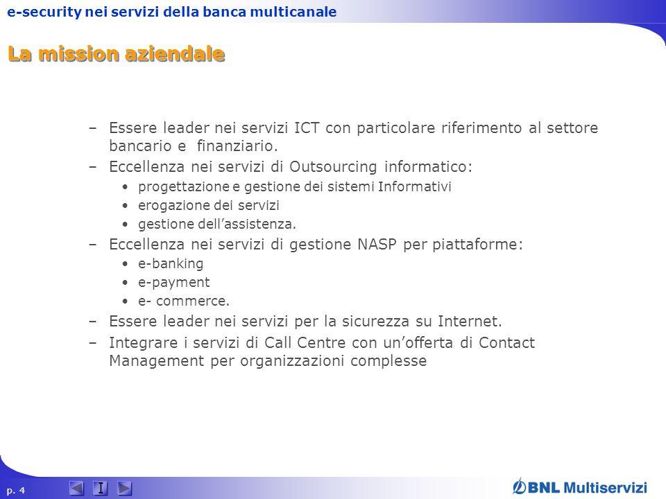p. 4 I e-security nei servizi della banca multicanale La mission aziendale –Essere leader nei servizi ICT con particolare riferimento al settore banca