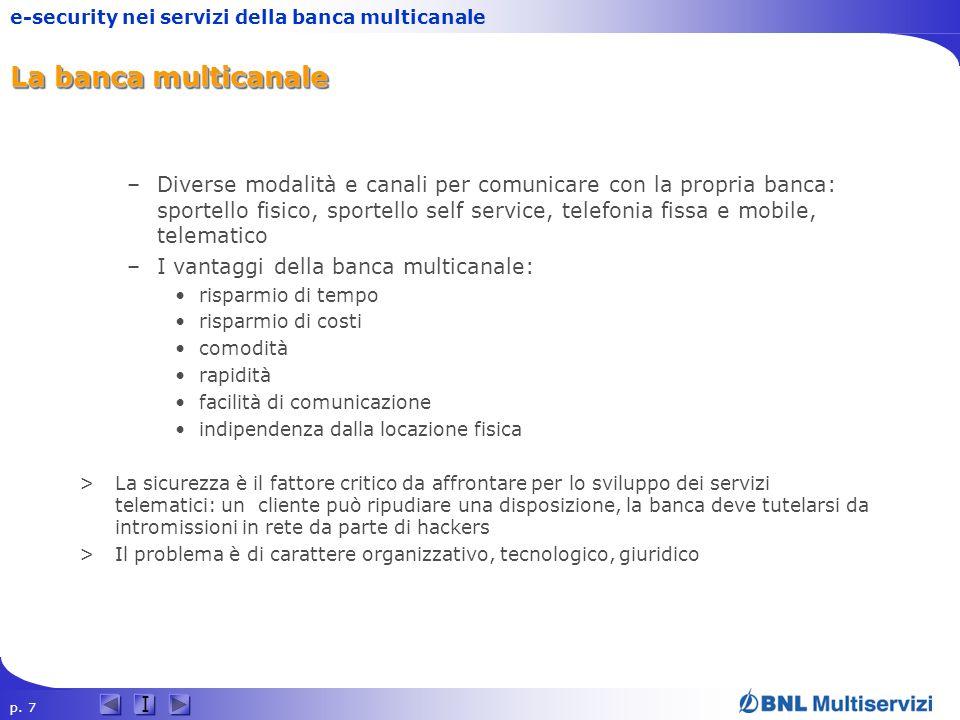 p. 7 I e-security nei servizi della banca multicanale La banca multicanale –Diverse modalità e canali per comunicare con la propria banca: sportello f