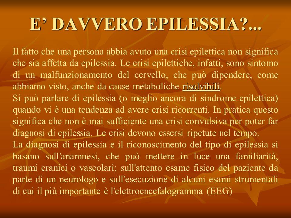E DAVVERO EPILESSIA?... risolvibili Il fatto che una persona abbia avuto una crisi epilettica non significa che sia affetta da epilessia. Le crisi epi