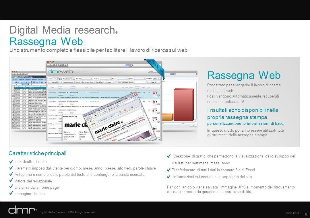 9 Digital Media Research 2010 All right reserved www.dmr.st Uno strumento completo e flessibile per facilitare il lavoro di ricerca sul web Digital Me