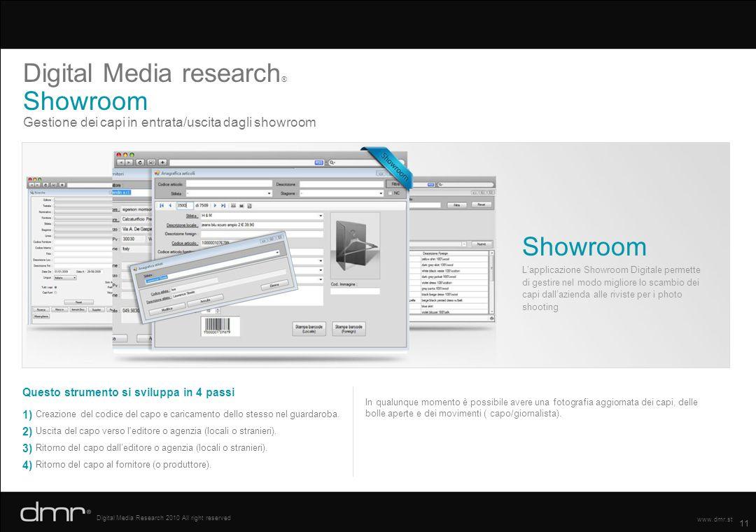 11 Digital Media Research 2010 All right reserved www.dmr.st Gestione dei capi in entrata/uscita dagli showroom Digital Media research ® Showroom Ques