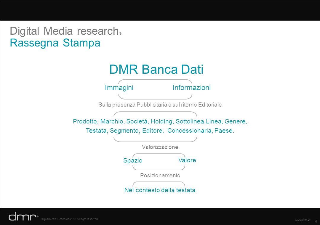 4 Digital Media Research 2010 All right reserved www.dmr.st Digital Media research ® Rassegna Stampa DMR Banca Dati ImmaginiInformazioni Sulla presenz