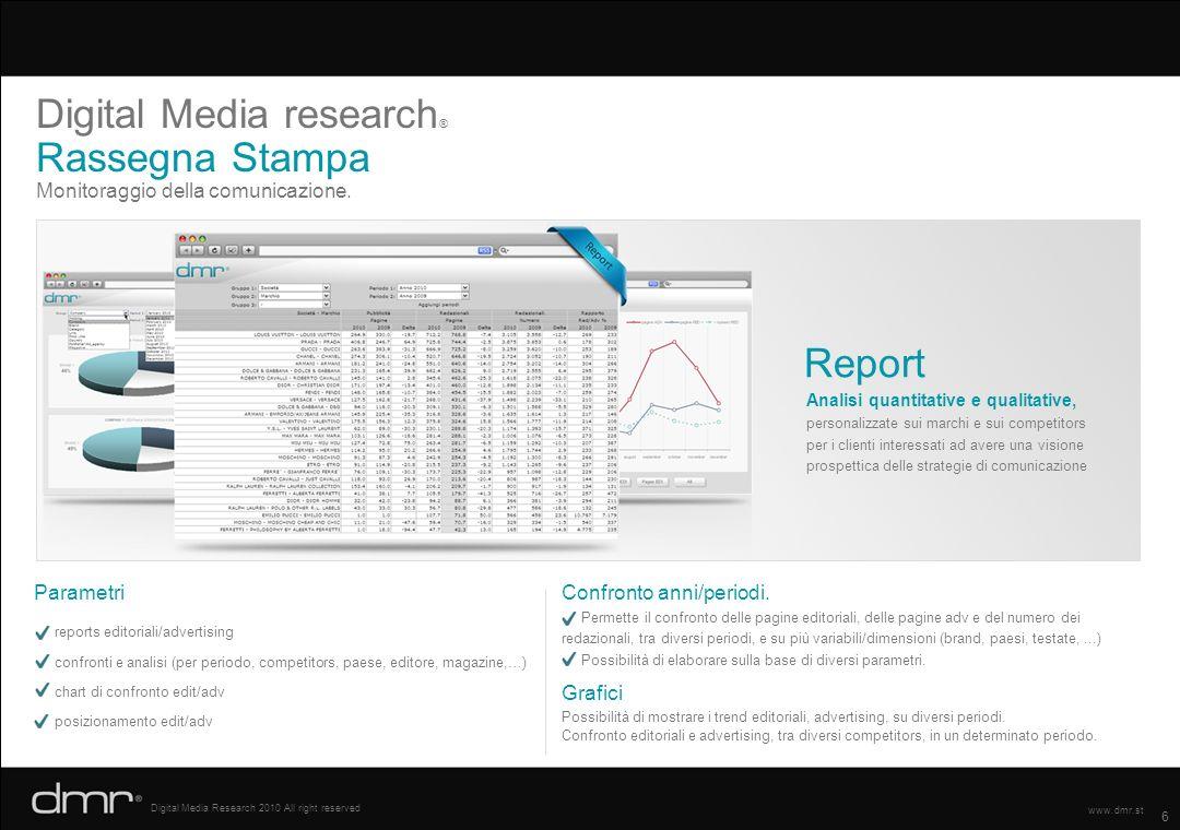 6 Digital Media Research 2010 All right reserved www.dmr.st Monitoraggio della comunicazione. Digital Media research ® Rassegna Stampa Analisi quantit