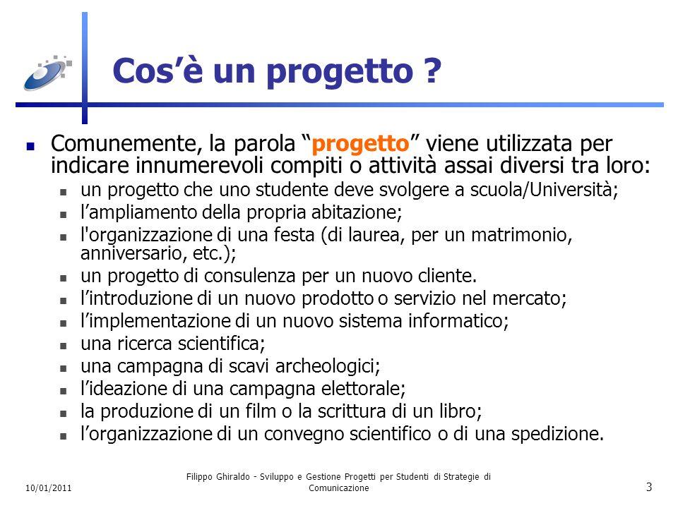 10/01/2011 Filippo Ghiraldo - Sviluppo e Gestione Progetti per Studenti di Strategie di Comunicazione 14 Qualità nei Progetti In un progetto di successo, non basta raggiungere lobiettivo (ovviamente entro i tempi previsti).