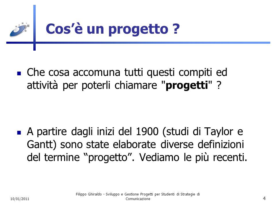 10/01/2011 Filippo Ghiraldo - Sviluppo e Gestione Progetti per Studenti di Strategie di Comunicazione 15 Qualità nei Progetti Il concetto di Qualità entra nel progetto in due livelli distinti.