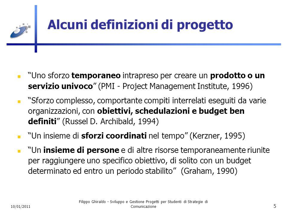 10/01/2011 Filippo Ghiraldo - Sviluppo e Gestione Progetti per Studenti di Strategie di Comunicazione 16 Un progetto è un processo Un progetto può essere visto come un processo caratterizzato da un suo ciclo di vita ben definito.