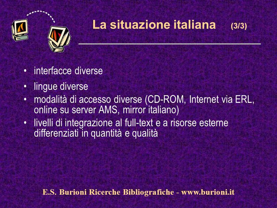 www.silverplatter.com La situazione italiana (3/3) interfacce diverse lingue diverse modalità di accesso diverse (CD-ROM, Internet via ERL, online su