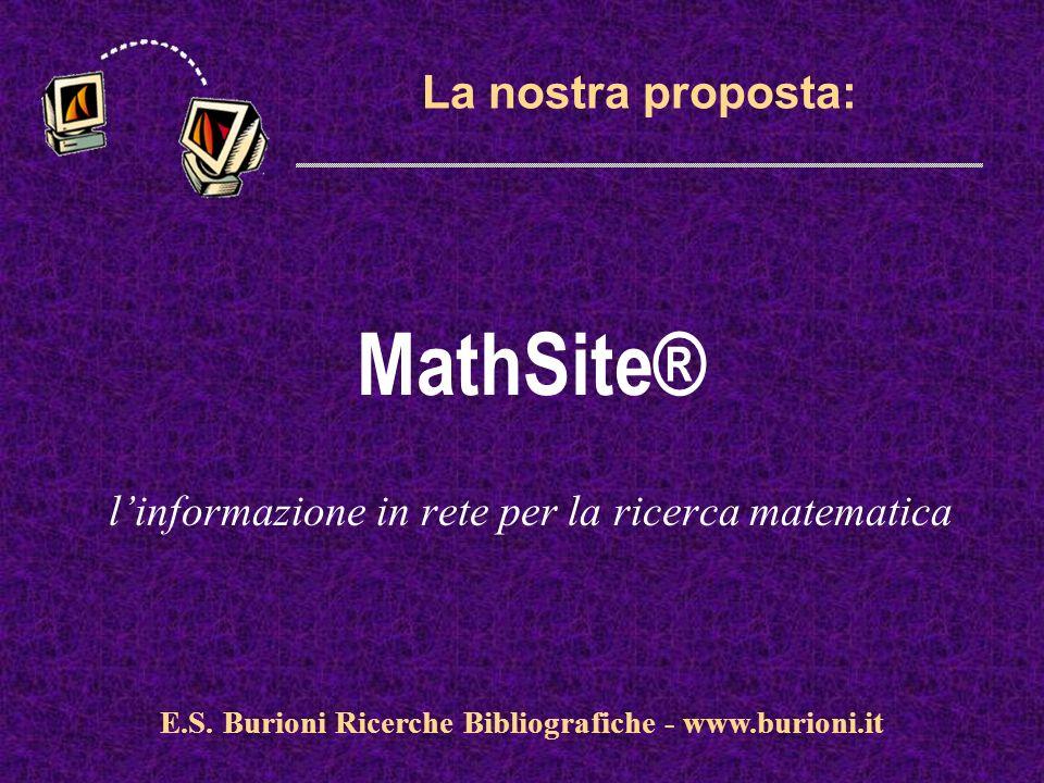 www.silverplatter.com La nostra proposta: MathSite® linformazione in rete per la ricerca matematica E.S. Burioni Ricerche Bibliografiche - www.burioni