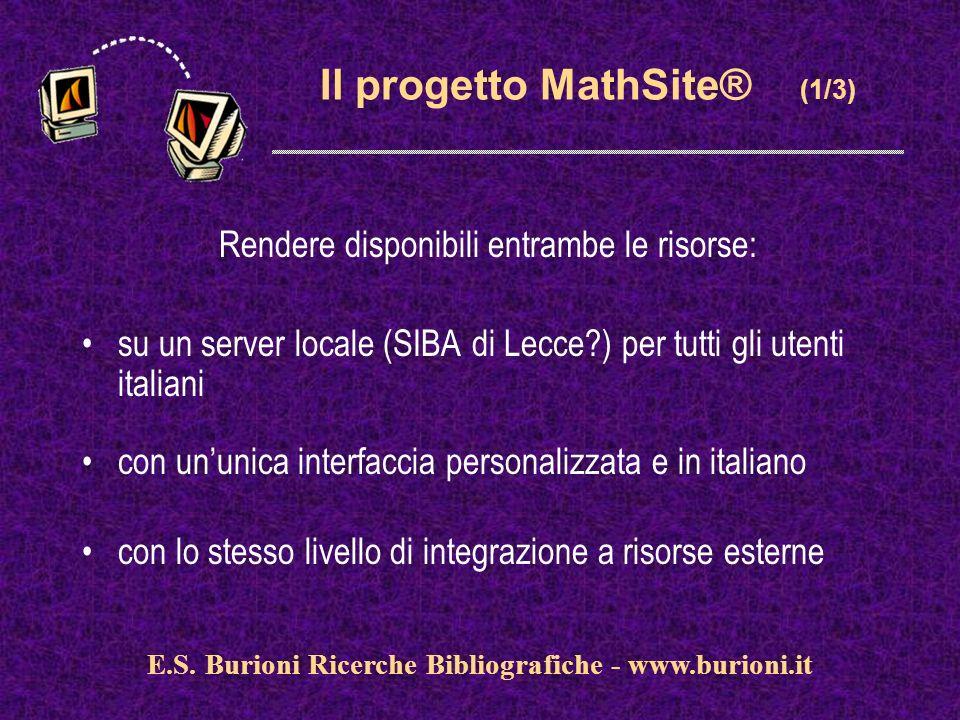 www.silverplatter.com E.S. Burioni Ricerche Bibliografiche - www.burioni.it Il progetto MathSite® (1/3) Rendere disponibili entrambe le risorse: su un