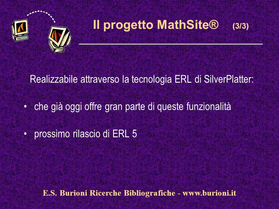 www.silverplatter.com Il progetto MathSite® (3/3) Realizzabile attraverso la tecnologia ERL di SilverPlatter: che già oggi offre gran parte di queste funzionalità prossimo rilascio di ERL 5 E.S.
