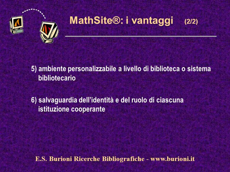 www.silverplatter.com MathSite®: i vantaggi (2/2) 5) ambiente personalizzabile a livello di biblioteca o sistema bibliotecario 6) salvaguardia dellidentità e del ruolo di ciascuna istituzione cooperante E.S.