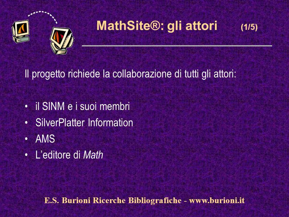 www.silverplatter.com MathSite®: gli attori (1/5) Il progetto richiede la collaborazione di tutti gli attori: il SINM e i suoi membri SilverPlatter Information AMS Leditore di Math E.S.