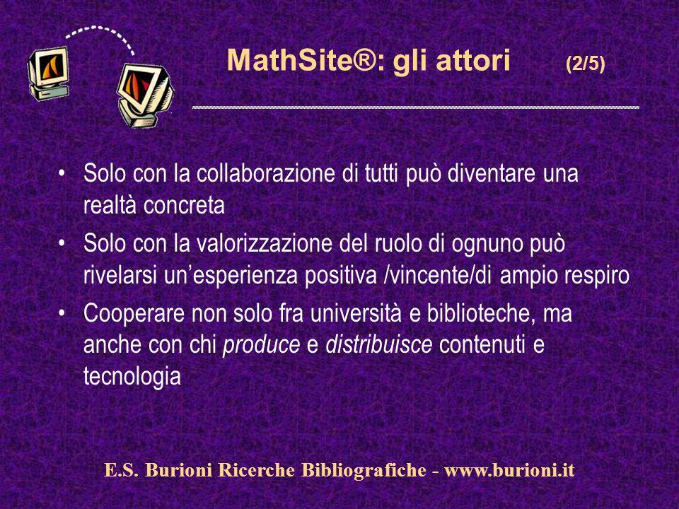 www.silverplatter.com MathSite®: gli attori (2/5) Solo con la collaborazione di tutti può diventare una realtà concreta Solo con la valorizzazione del