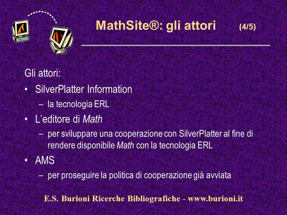 www.silverplatter.com MathSite®: gli attori (4/5) Gli attori: SilverPlatter Information –la tecnologia ERL Leditore di Math –per sviluppare una cooperazione con SilverPlatter al fine di rendere disponibile Math con la tecnologia ERL AMS –per proseguire la politica di cooperazione già avviata E.S.