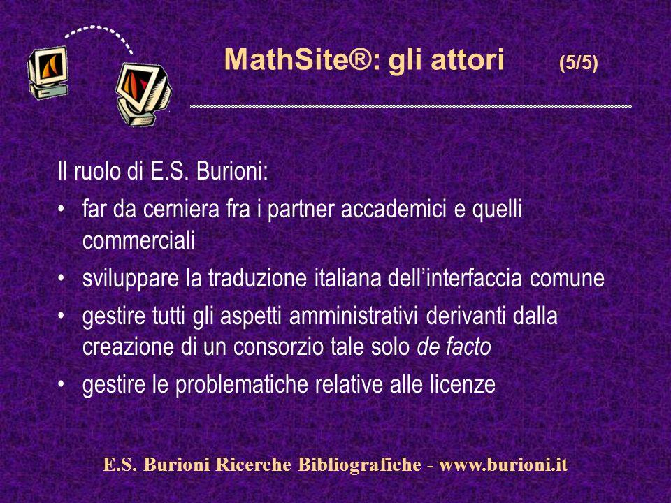 www.silverplatter.com MathSite®: gli attori (5/5) Il ruolo di E.S. Burioni: far da cerniera fra i partner accademici e quelli commerciali sviluppare l