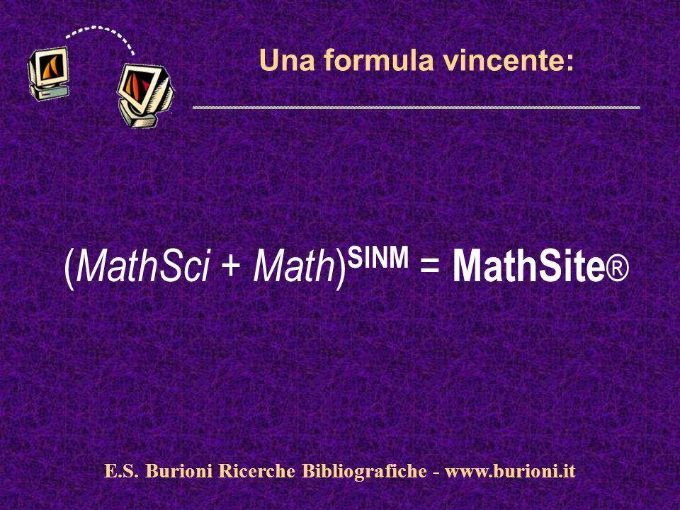 www.silverplatter.com Una formula vincente: ( MathSci + Math ) SINM = MathSite ® E.S. Burioni Ricerche Bibliografiche - www.burioni.it
