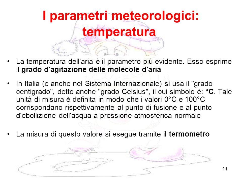 11 I parametri meteorologici: temperatura La temperatura dell'aria è il parametro più evidente. Esso esprime il grado d'agitazione delle molecole d'ar