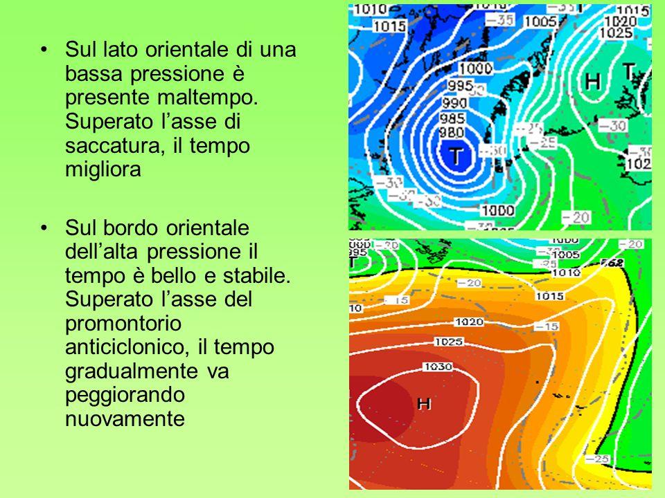 23 Sul lato orientale di una bassa pressione è presente maltempo. Superato lasse di saccatura, il tempo migliora Sul bordo orientale dellalta pression