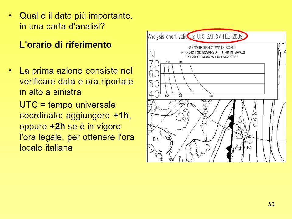 33 Qual è il dato più importante, in una carta d'analisi? L'orario di riferimento La prima azione consiste nel verificare data e ora riportate in alto
