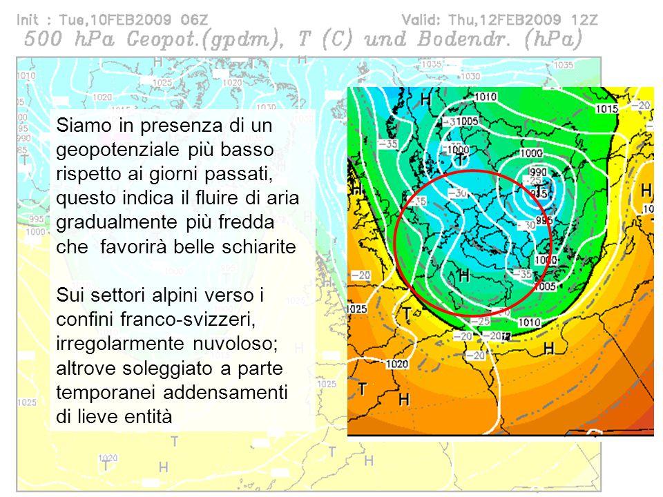 41 Previsioni per giovedì 12/02 Siamo in presenza di un geopotenziale più basso rispetto ai giorni passati, questo indica il fluire di aria gradualmen