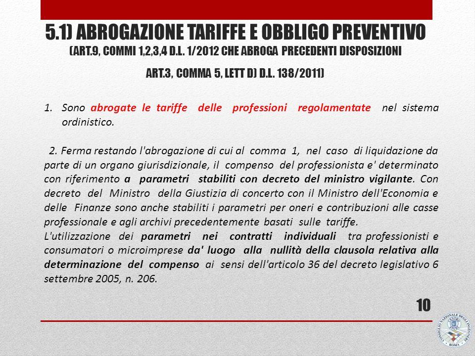 5.1) ABROGAZIONE TARIFFE E OBBLIGO PREVENTIVO (ART.9, COMMI 1,2,3,4 D.L. 1/2012 CHE ABROGA PRECEDENTI DISPOSIZIONI ART.3, COMMA 5, LETT D) D.L. 138/20