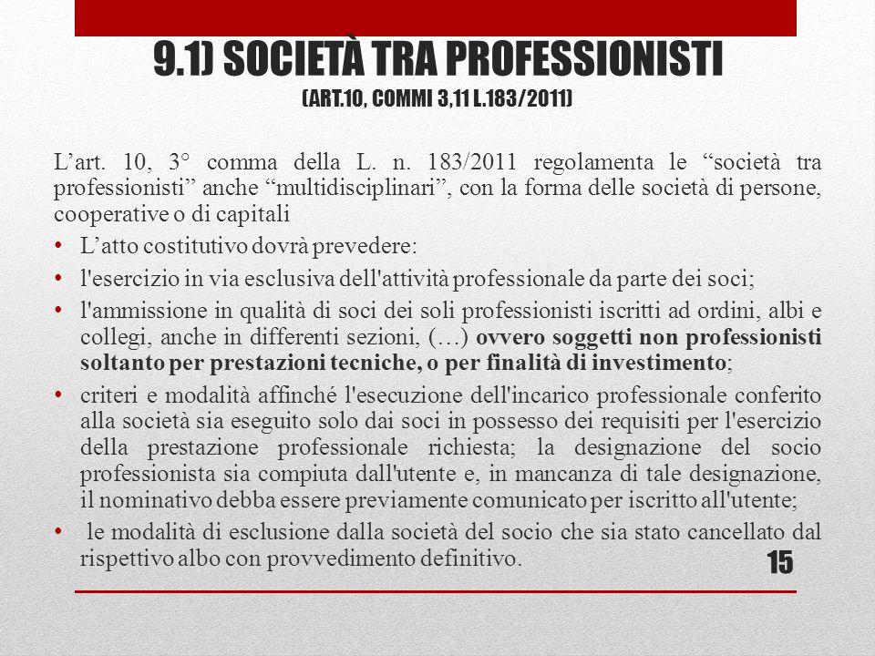 9.1) SOCIETÀ TRA PROFESSIONISTI (ART.10, COMMI 3,11 L.183/2011) Lart. 10, 3° comma della L. n. 183/2011 regolamenta le società tra professionisti anch