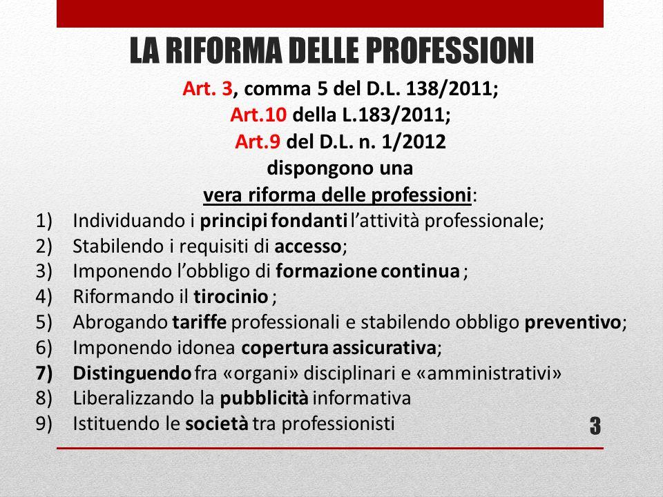 LA RIFORMA DELLE PROFESSIONI 3 Art. 3, comma 5 del D.L. 138/2011; Art.10 della L.183/2011; Art.9 del D.L. n. 1/2012 dispongono una vera riforma delle