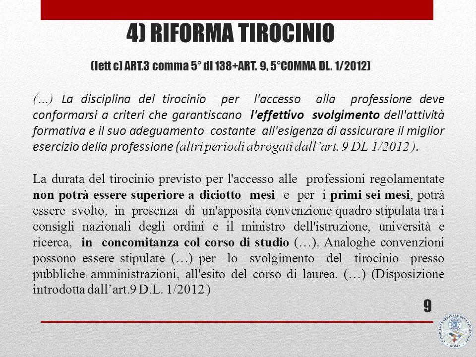 4) RIFORMA TIROCINIO (lett c) ART.3 comma 5° dl 138+ART. 9, 5°COMMA DL. 1/2012) 9 (…) La disciplina del tirocinio per l'accesso alla professione deve