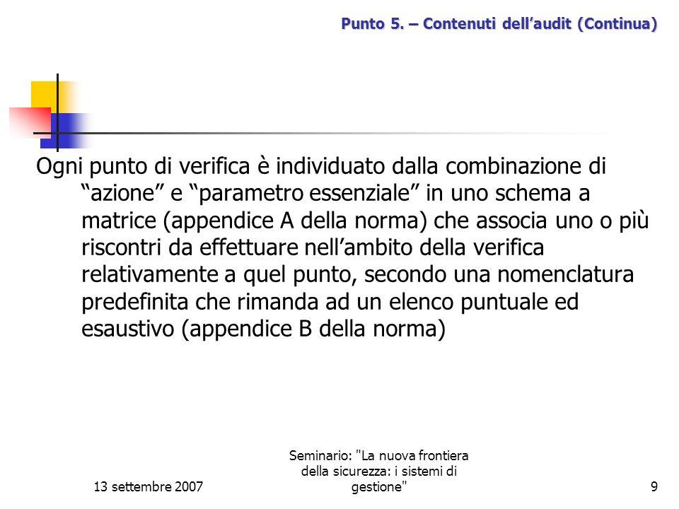 13 settembre 2007 Seminario: La nuova frontiera della sicurezza: i sistemi di gestione 10 Punto 5.