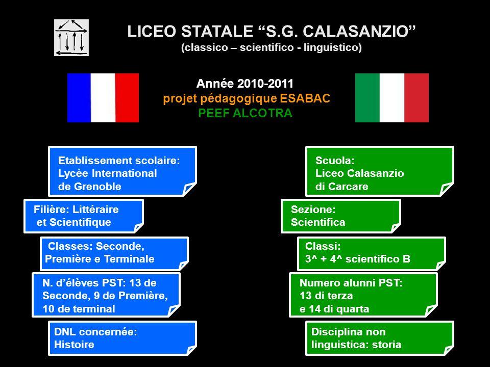 LICEO STATALE S.G. CALASANZIO (classico – scientifico - linguistico) Année 2010-2011 projet pédagogique ESABAC PEEF ALCOTRA Etablissement scolaire: Ly