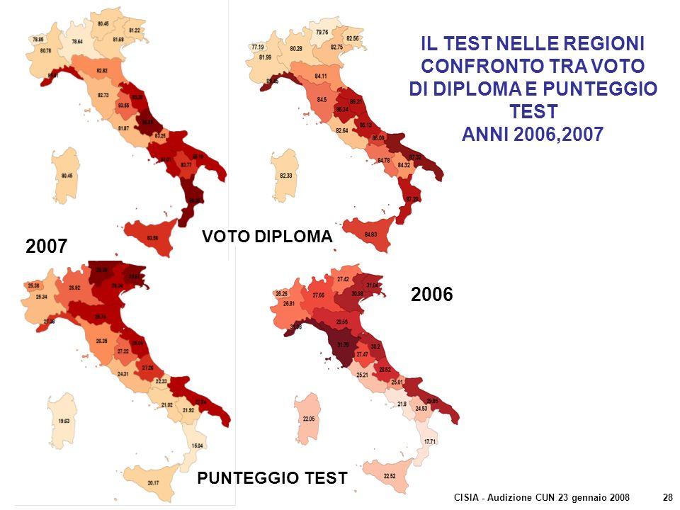VOTO DIPLOMA PUNTEGGIO TEST 2007 2006 IL TEST NELLE REGIONI CONFRONTO TRA VOTO DI DIPLOMA E PUNTEGGIO TEST ANNI 2006,2007 CISIA - Audizione CUN 23 gen