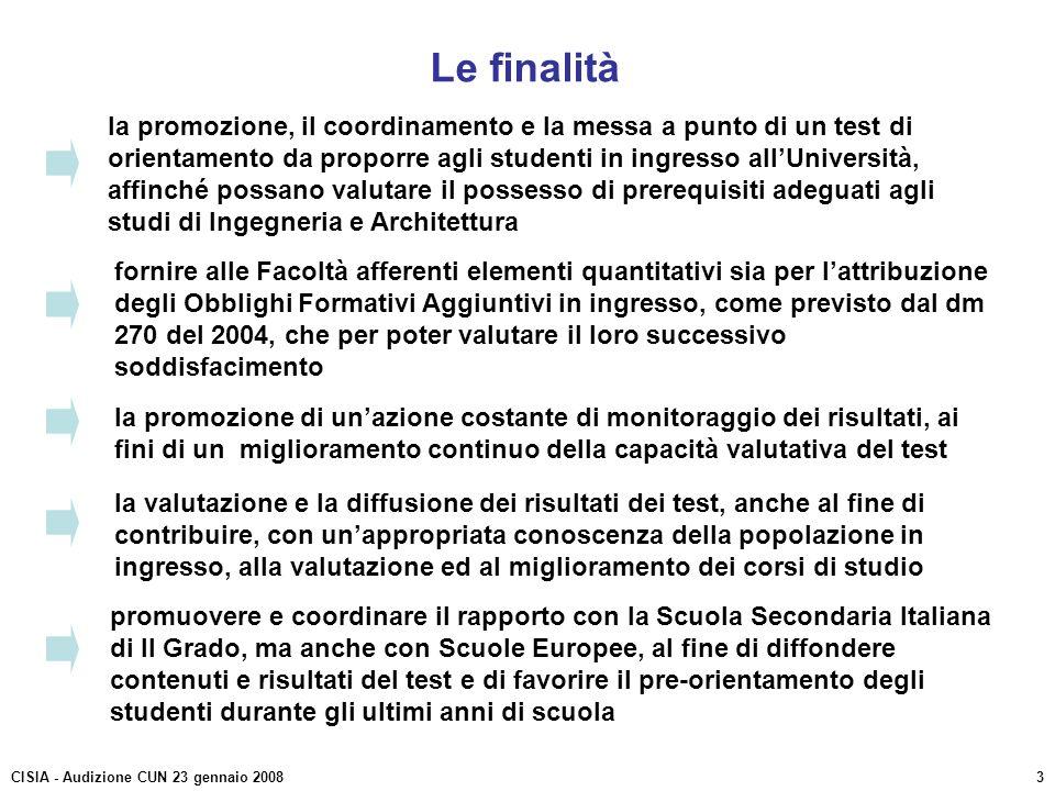 Le finalità la promozione, il coordinamento e la messa a punto di un test di orientamento da proporre agli studenti in ingresso allUniversità, affinch