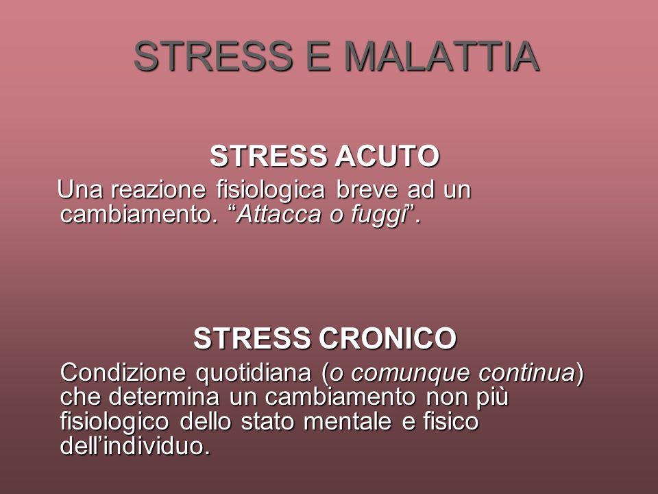 STRESS E MALATTIA STRESS E MALATTIA STRESS ACUTO Una reazione fisiologica breve ad un cambiamento. Attacca o fuggi. Una reazione fisiologica breve ad