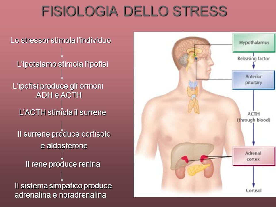 FISIOLOGIA DELLO STRESS Il sistema simpatico produce adrenalina e noradrenalina Il rene produce renina Il surrene produce cortisolo e aldosterone LACT
