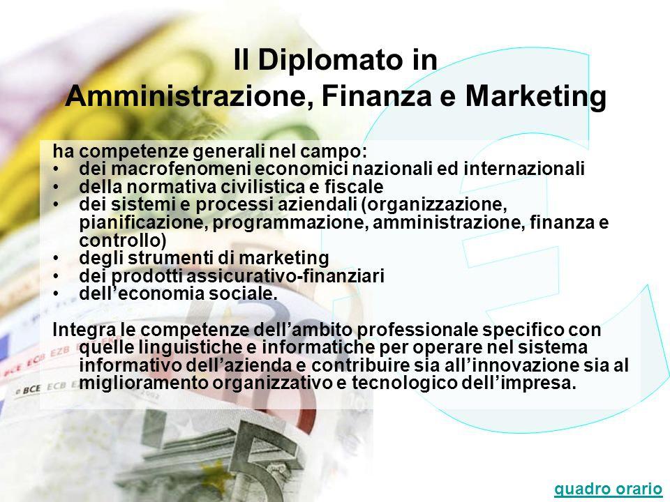 Il Diplomato in Amministrazione, Finanza e Marketing ha competenze generali nel campo: dei macrofenomeni economici nazionali ed internazionali della n