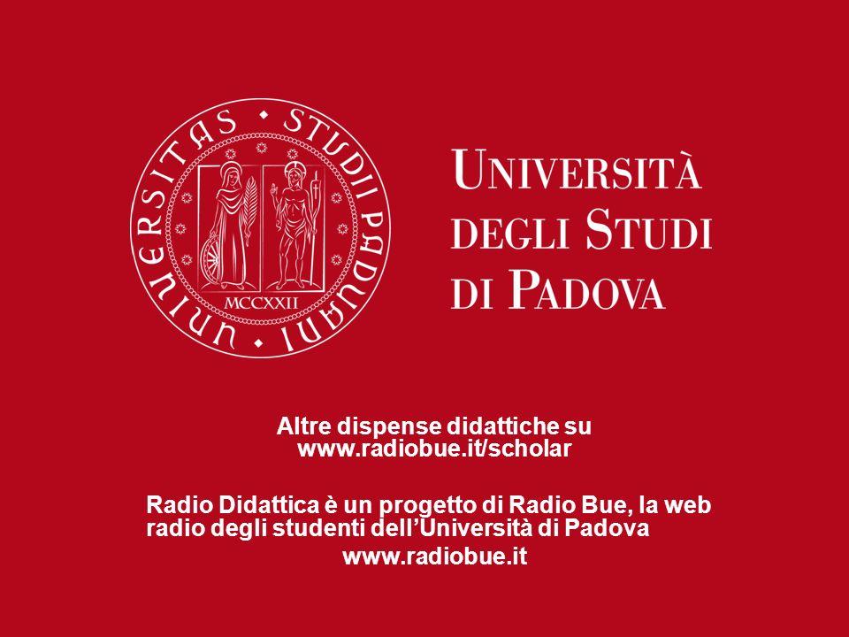 Altre dispense didattiche su www.radiobue.it/scholar Radio Didattica è un progetto di Radio Bue, la web radio degli studenti dellUniversità di Padova
